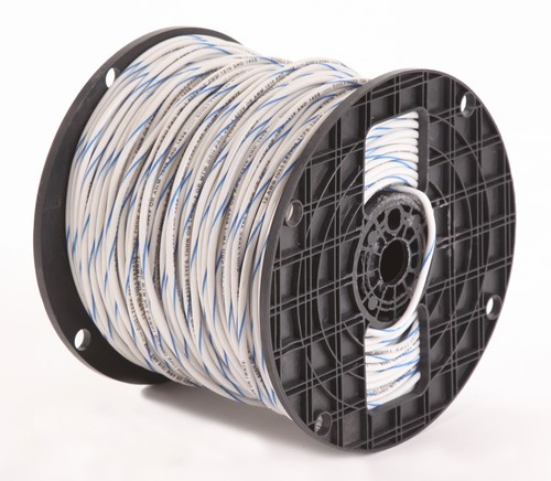 Alan Wire12AWG MTW White with Blue Stripe, 2500ft.
