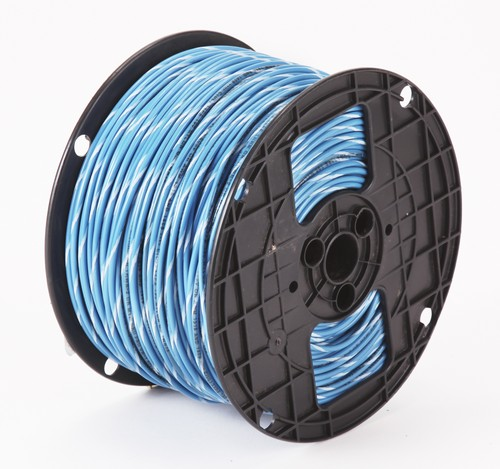 Alan Wire10AWG MTW Blue with White Stripe, 500ft.