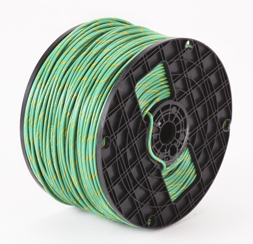 Alan Wire16AWG MTW Green with Yellow Stripe, 2500ft.